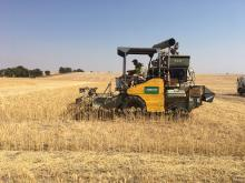This photo was taken of a plot harvester in action harvesting crop trials at our Quairading trial site this week, just beating the harvest ban. Trial details will be analysed next month.