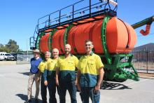 Final checks had just been completed when this picture was taken recently of the latest Series 2 five tank Ausplow M22000 Multistream liquid-ready air seeder on tracks, bound for the eastern Wheatbelt. On hand at the company's Jandakot factory were, from left, sales and marketing manager Chris Blight, assembly supervisor Claude Vinci, service manager Ray Beacham and assemblers Adam Reeves and Tony Kennedy.