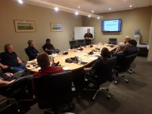 Ausplow Sales and Marketing Manager Chris Blight talks with new DBS owners at the O'Connors Shepparaton, Victoria, new owners school last week.