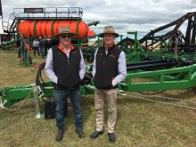 "Ausplow service manager Ray Beecham (left) and Ausplow Sales and Marketing Manager Chris Blight at last week's Yorke Peninsula Machinery Field Days. ""The reception was pretty good considering it has been a challenging growing season this year,"" Chris said."