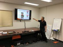 Ausplow parts interpreter Tim Jobson takes Boekeman Machinery staff through the company's product categories at the recent parts school held at Ausplow's Jandakot office.