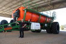 Katanning branch manager Kevin Newman inspects the new Multistream before it is delivered to a local farmer.