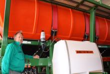 Kojonup farmer Geoff Thorn says the saddle tank holding Treflan is a big improvement on carrying enviro drums on the side of a trailed water cart. Treflan is metered through a Dosatron into a line carrying water from the seventh tank (4700L) on the Multistream.