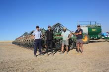 Boekeman Machinery Wongan Hills salesmen Ben Boekeman (left) and Ewan McLintock, Nathan Davey, Konnongorring and tractor driver Kane Corsini check out Mr Davey's new DBS precision seeder, replacing his original DBS which he had for 20 years.