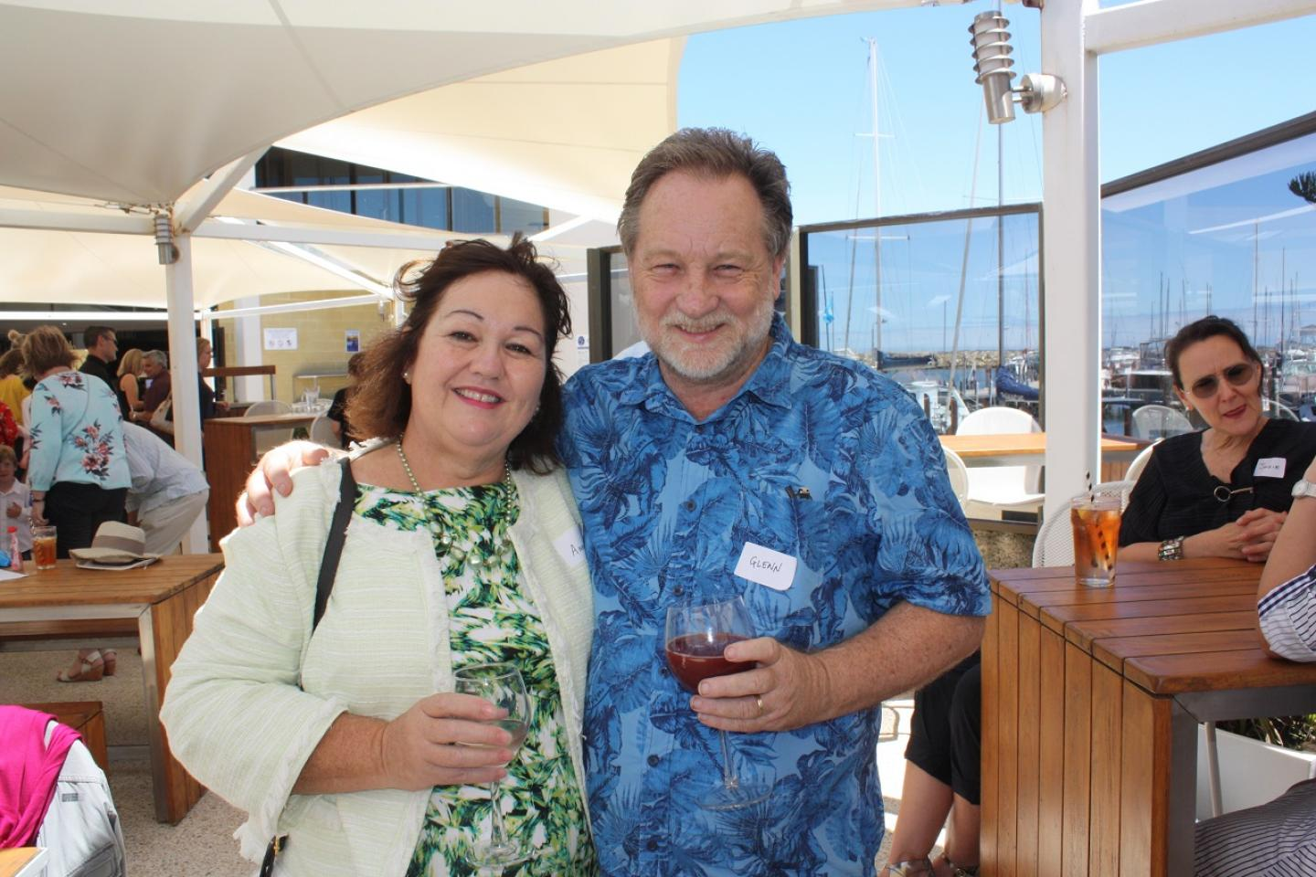 Enjoying the pleasant surrounds of the Fremantle Sailing Club were Ausplow procurement manager Glenn Hubbard with his wife Ann.