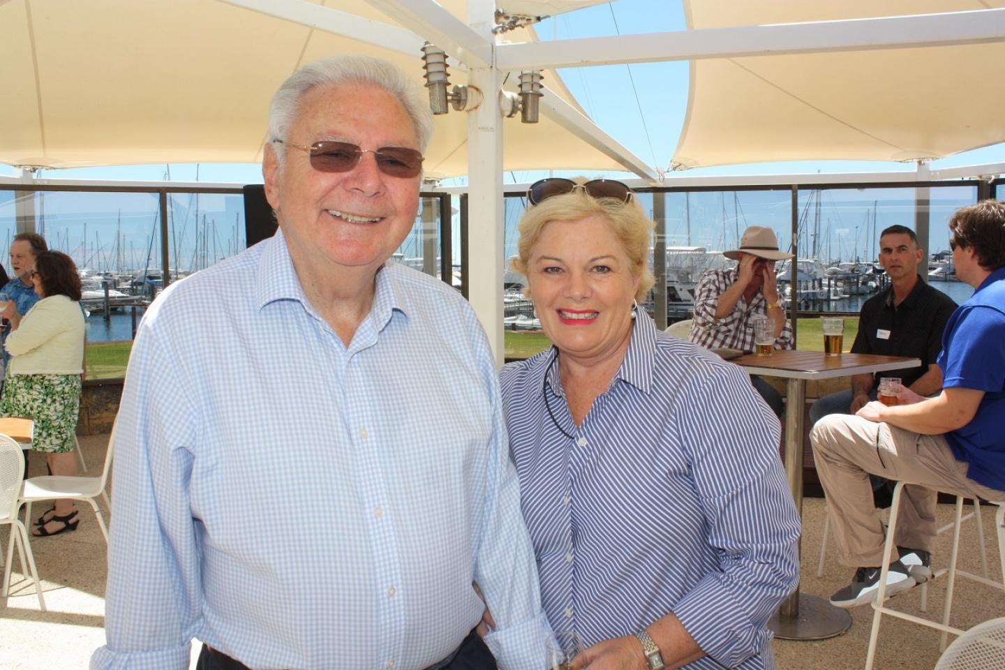 Ausplow managing director John Ryan AM and his partner Bernadette Turner welcomed guests at last Saturday's annual Ausplow Christmas wind-up at the Fremantle Sailing Club.