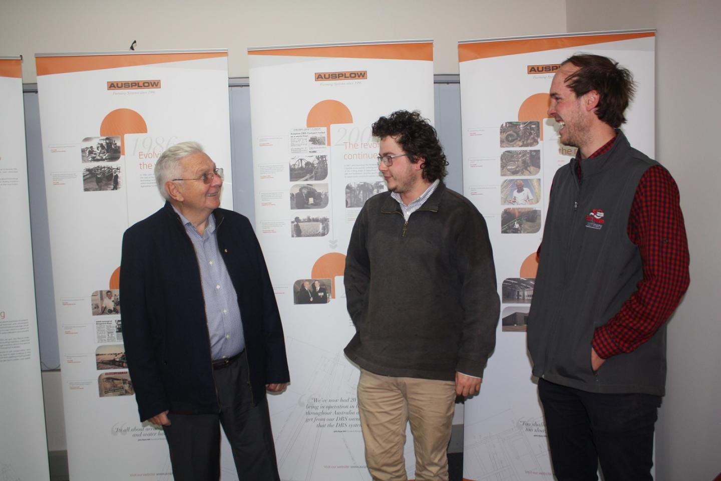 Wongan Hills dealership Boekeman Machinery toured Ausplow's Naval Base factory last month with Ausplow owners and prospective clients keen to hear the company's latest news. Here, company managing director and DBS inventor John Ryan (left) talks with Bindoon farmer Kristen Kelly and Boekeman Machinery salesman Ben Boekeman. Kristen has owned a 12.2 metre DBS for three years and picked up some handy information during the tour.