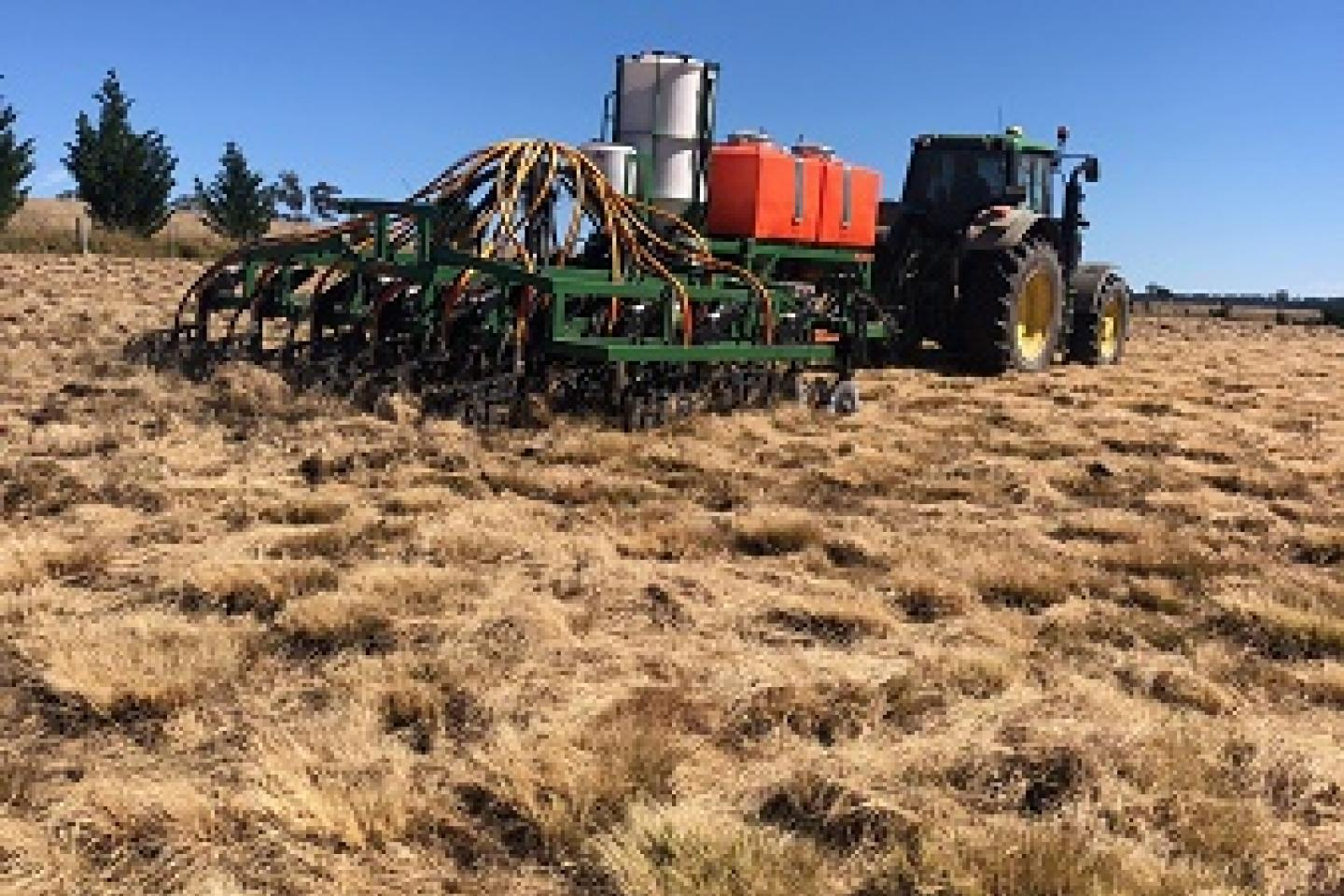 A specially-designed Ausplow DBS precision planter being used in New South Wales. The DBS is a Clayton's version of deep ripping and a defacto Keyline system, encouraging rain to stay where it falls.