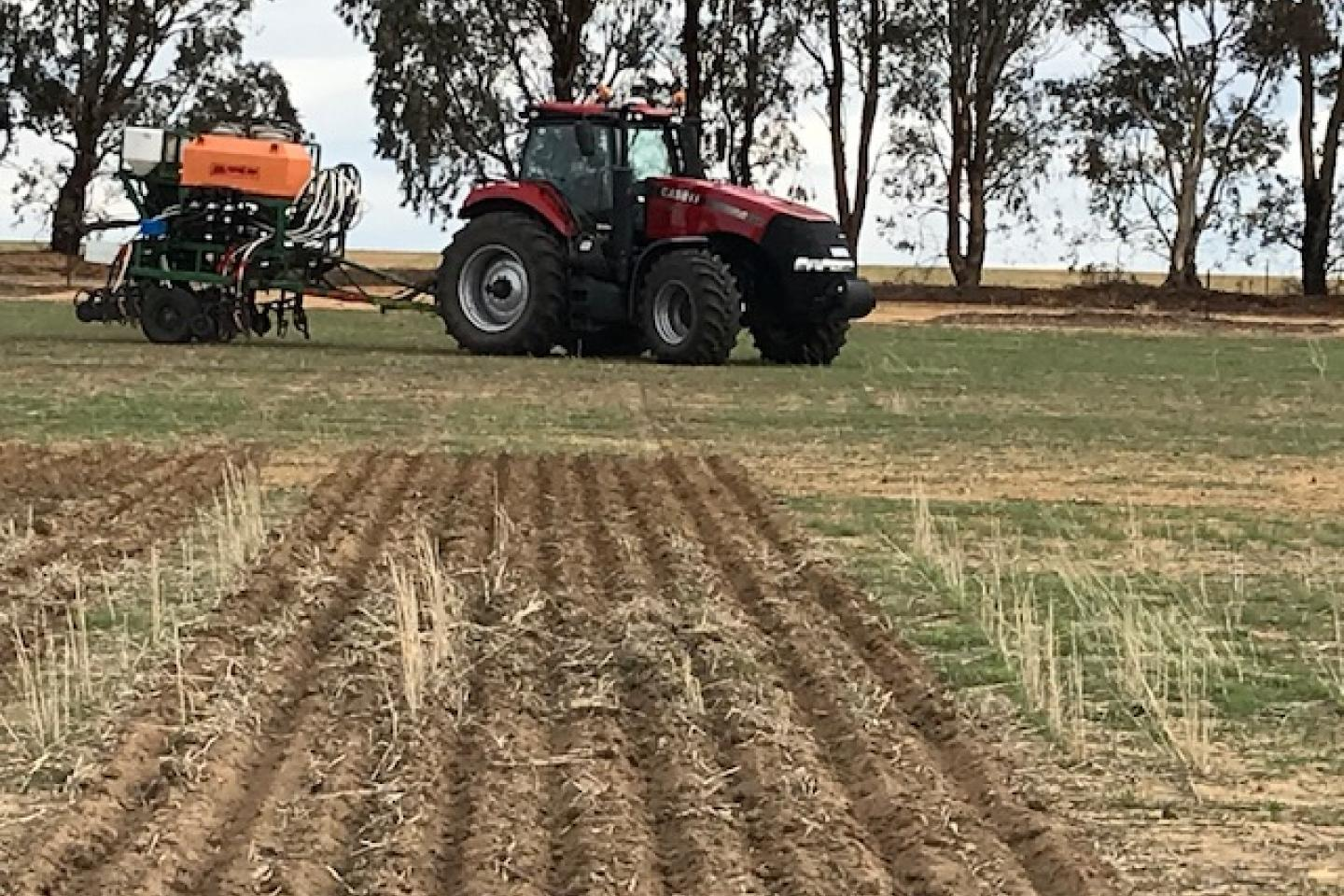 Quairading farmer Brayden Hayes swings his tractor linked to Ausplow's trial seeder for one of the final legs of the trial program at Ausplow research and development site at Quairading.